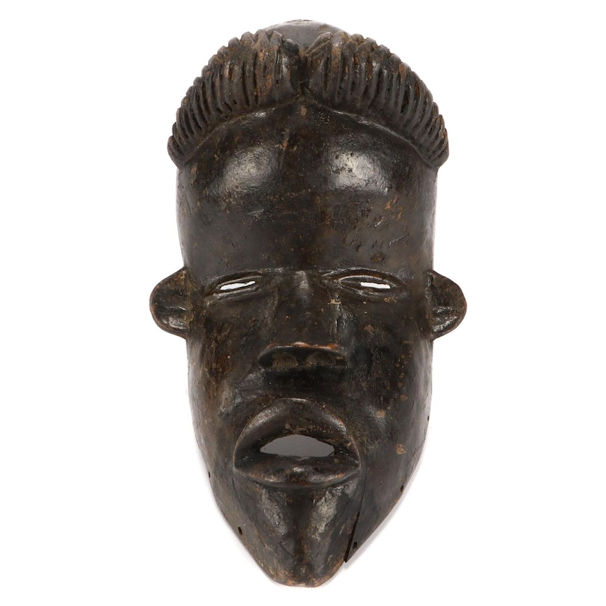 Bassa Style Hand-Carved Wood Mask, West Africa