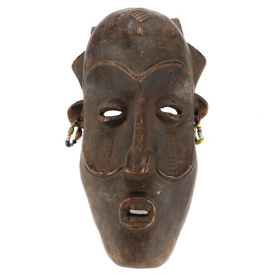 Lulua Style Hand-Carved Wood Mask, Democratic Republic of the Congo