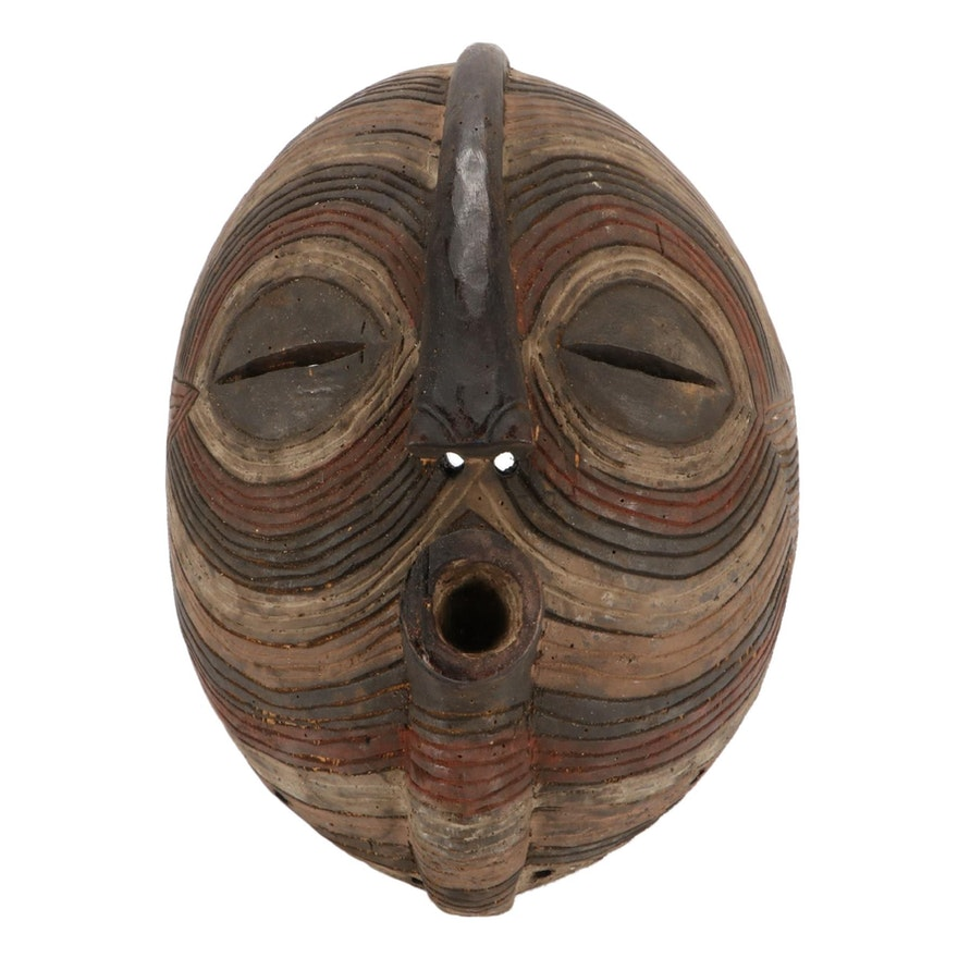 Luba Style Hand-Carved Wood Mask, Central Africa