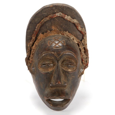 Chokwe Style Hand-Carved Wood Mask, Central Africa