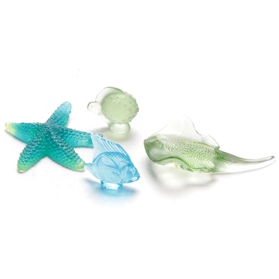 Lalique and Daum Marine Life Crystal and Art Glass Figurines