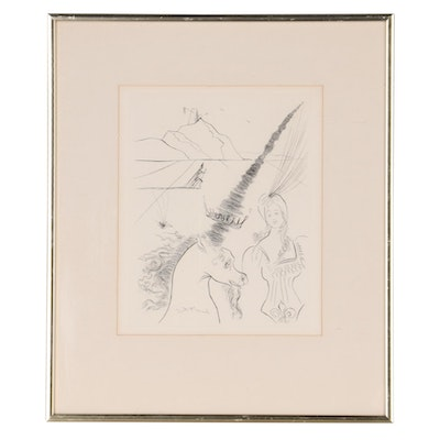 """Salvador Dalí Second Edition Etching """"The Lady and the Unicorn,"""" 1971"""