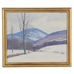"Cecil Vezin Grant Oil Painting ""Winter Near Dorset,"" Early 20th Century"