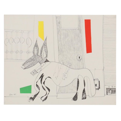 Eduardo Oliva Surrealist Style Ink Drawing with Paper Collage of Dog, 1985