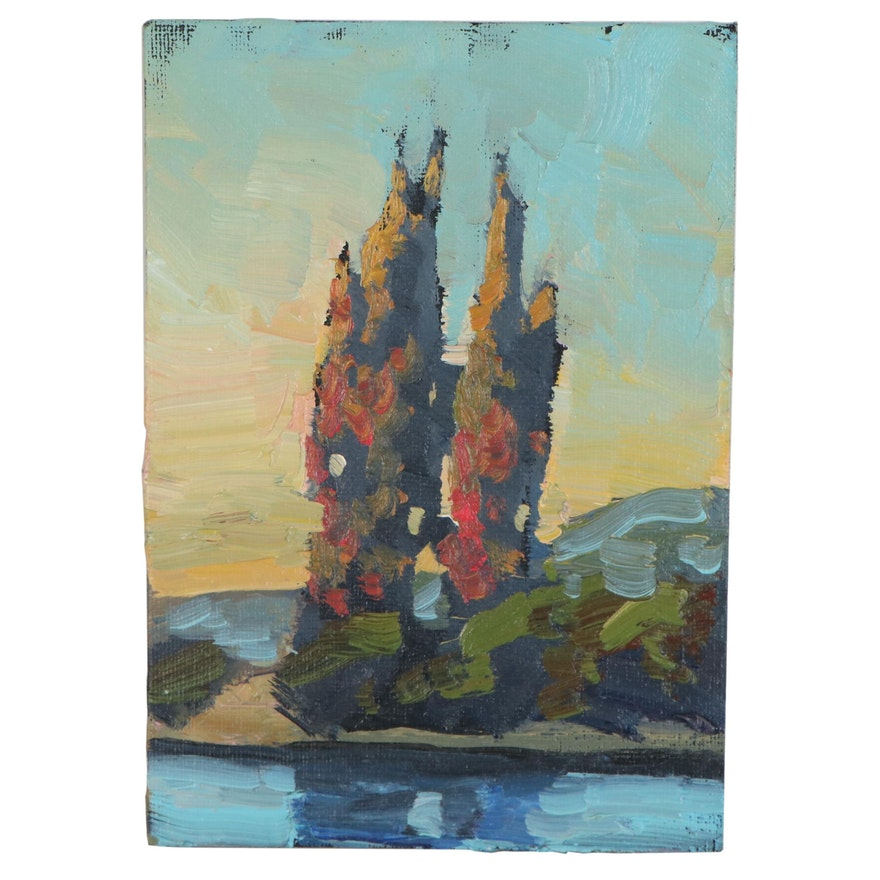 William Hawkins Oil Painting of Landscape with Cypress Trees, 21st Century