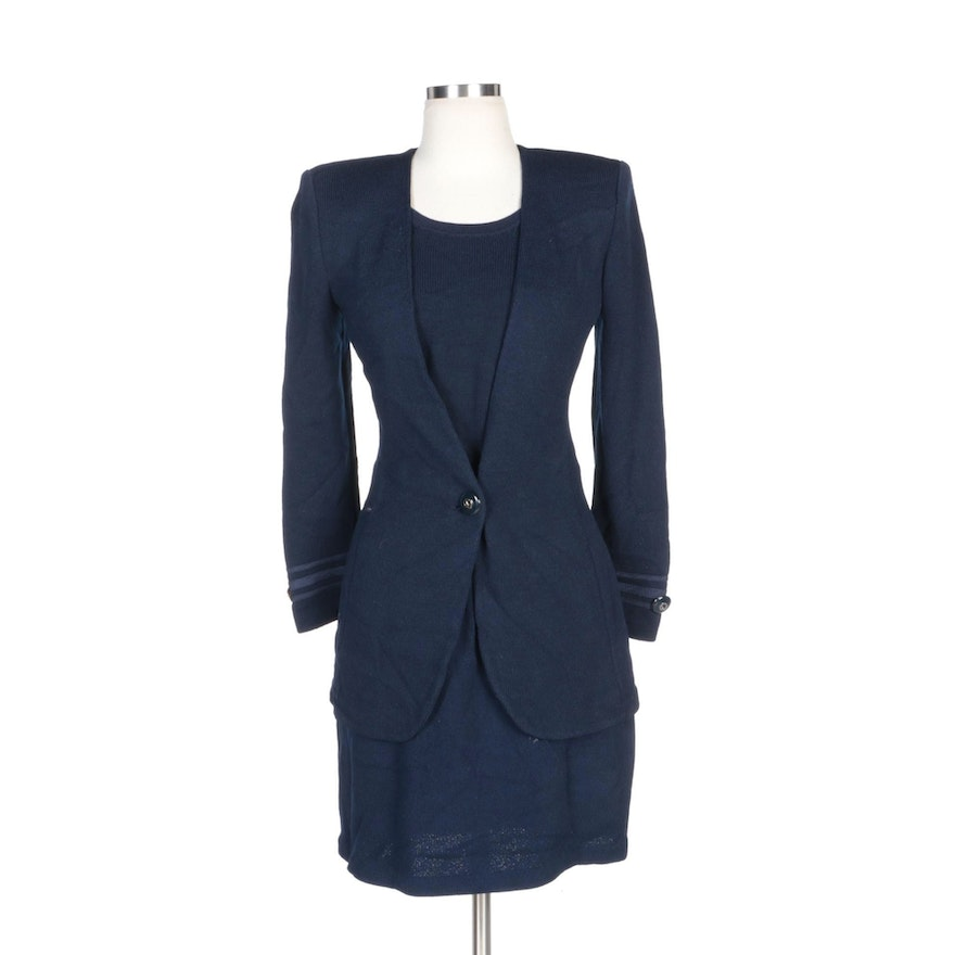 St. John Collection Navy Knit Skirt Suit with Shell