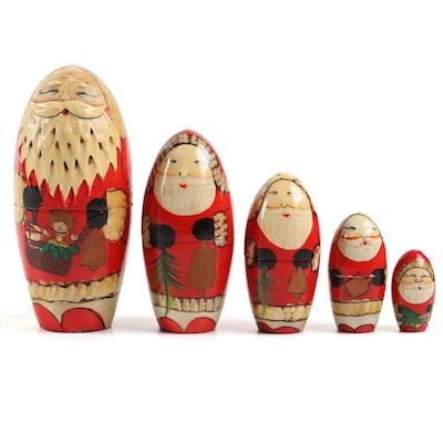 Hand-Painted Wooden Santa Nesting Dolls, Vintage