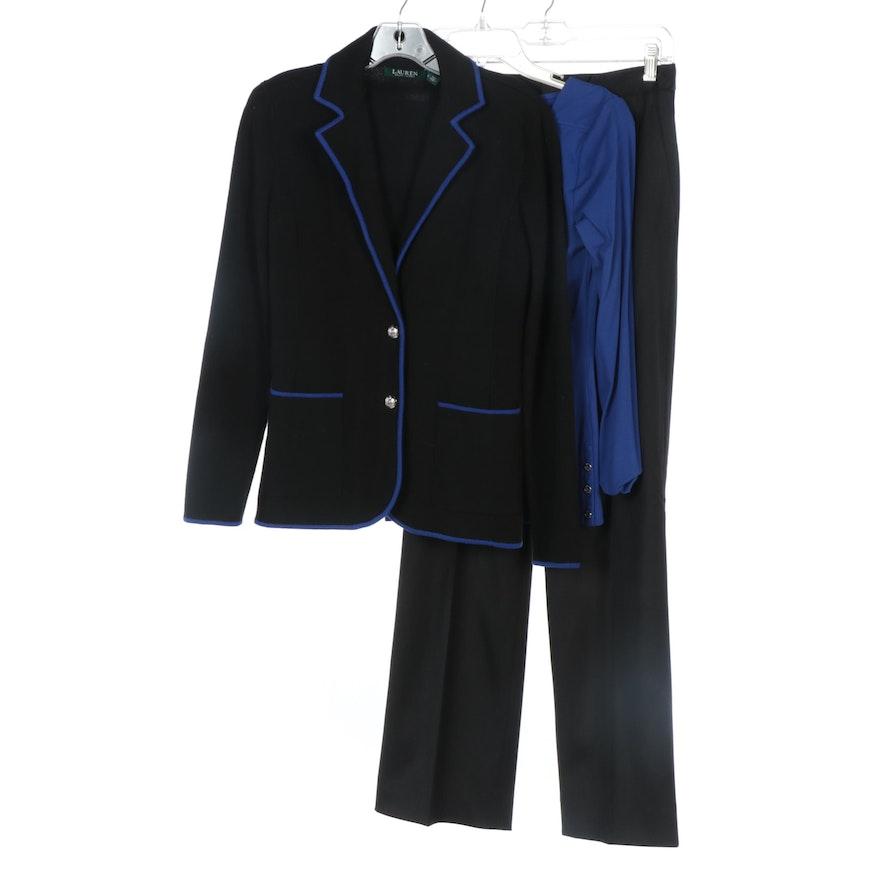 Lauren Ralph Lauren Blazer and Blue Top and Ellen Tracy Black Wool Pants