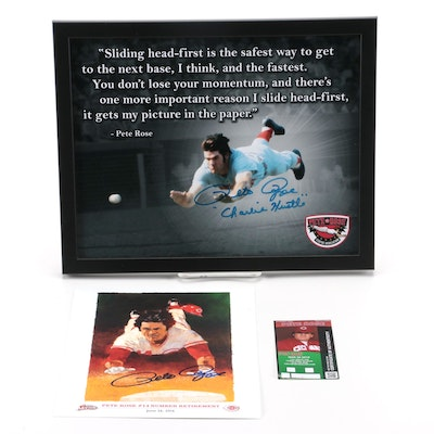 "Pete Rose ""Charlie Hustle"" and ""Statue"" Signed Cincinnati Reds Baseball Prints"
