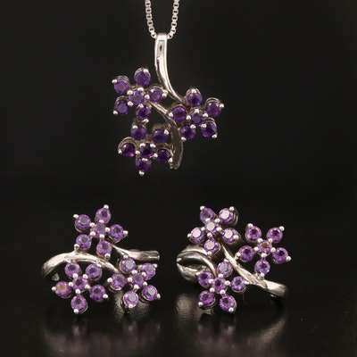 Sterling Amethyst Pendant Necklace and J Hoop Earring Set