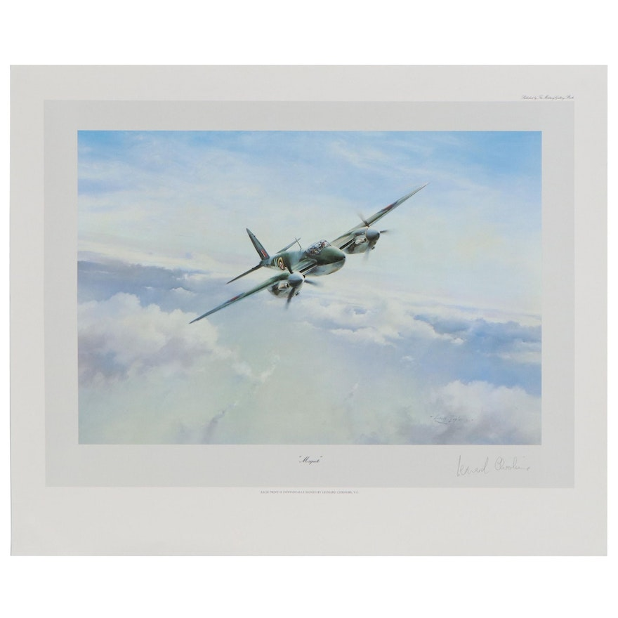 """Offset Lithograph after Robert Taylor Signed by Leonard Cheshire """"Mosquito"""""""
