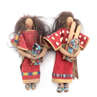 Northern Plains Style Buckskin and Wool Dolls with Cradleboards