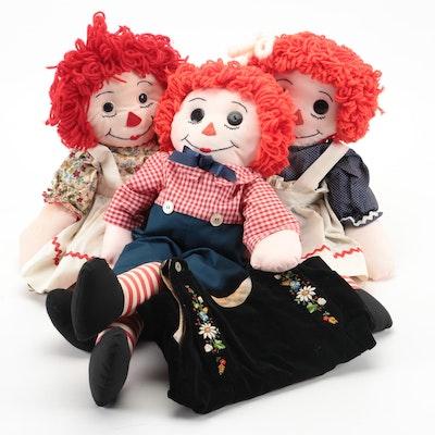 Knickerbocker Raggedy Ann and Raggedy Andy Cloth Dolls