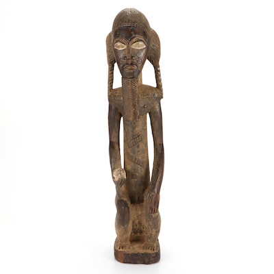 Baule Style Carved Wood Seated Figure, Côte d'Ivoire
