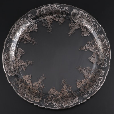 Glass Serving Plate with Painted Silver Grape Overlay, Mid-20th Century