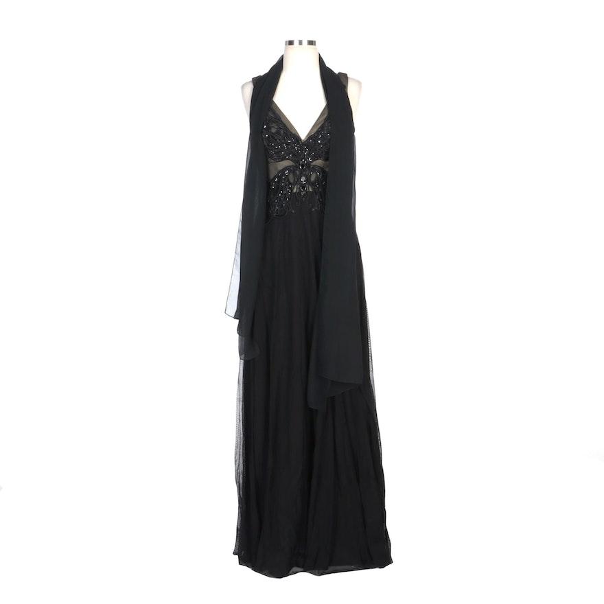 Alberto Makali Black V-Neck Sleeveless Evening Dress with Beaded Bodice and Wrap