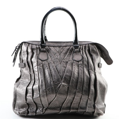 Valentino Maison Pleated Metallic Leather Handbag