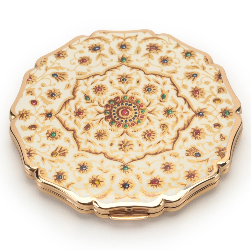 Stratton Gilt Metal and Enamel Compact with Pouch and Gift Box