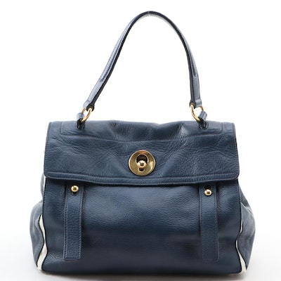 Yves Saint Laurent Muse Two Navy Leather and White Canvas Top Handle Bag
