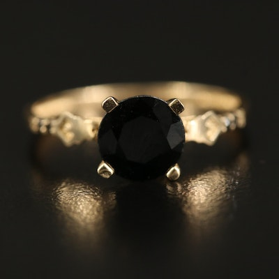 14K 1.60 CT Sapphire and Diamond Ring