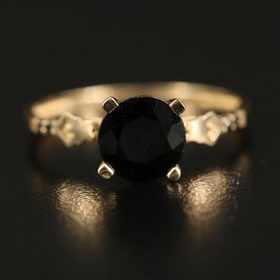 14K 1.60 CT Sapphire and Diamond Ring