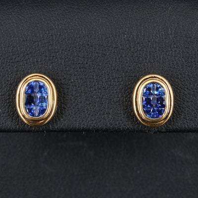 18K Invisible Set Sapphire Earrings