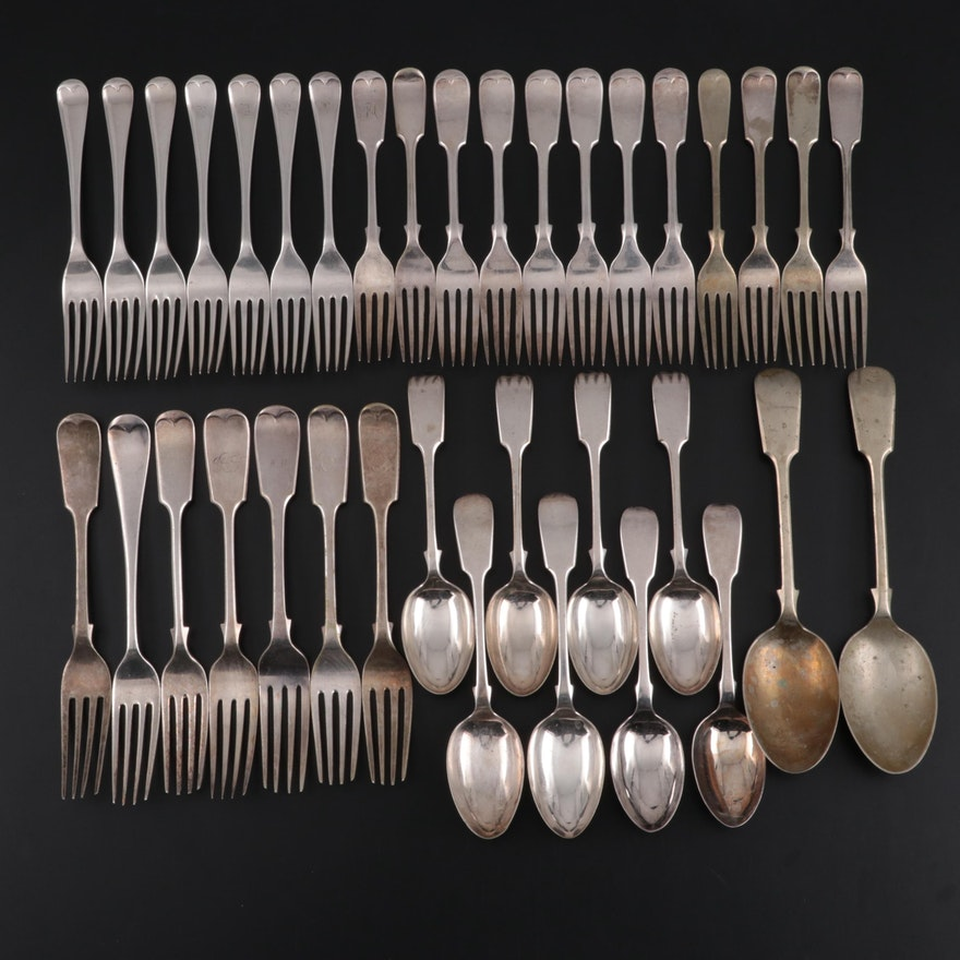 Elkington And Other English Fiddle Handled Silver Plate Flatware