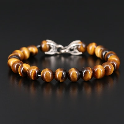 "David Yurman ""Spiritual Beads"" Sterling Silver Tiger's Eye Bracelet"