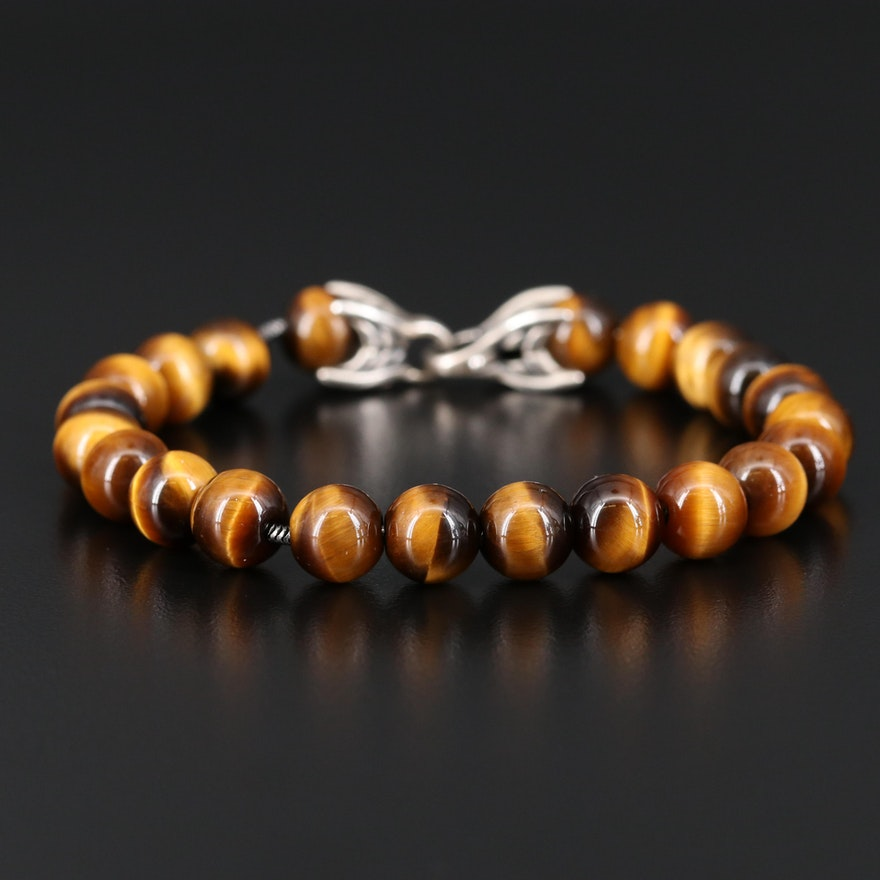 "David Yurman ""Spiritual Beads"" Sterling Silver Tiger's Eye Bracelet"