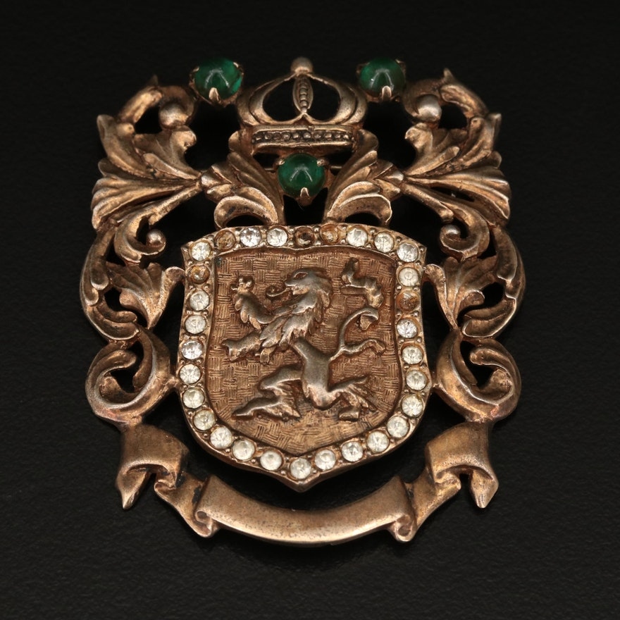 "Vintage ""Lion Rampant"" Heraldic Rhinestone Brooch"