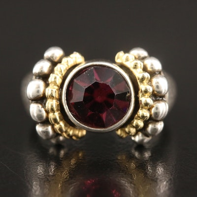 Cubic Zirconia Ring with Two Tone Bead Accents