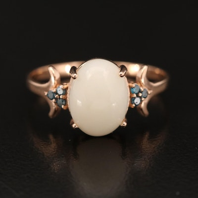 14K Rose Gold Opal and Diamond Ring