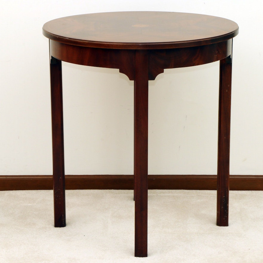 Plantation Hepplewhite Style Mahogany, Patera and Line Inlaid Side Table