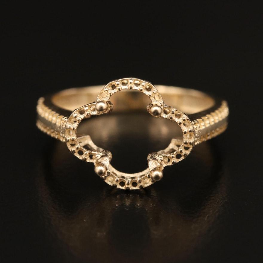 14K Open-Mount Quatrefoil Ring