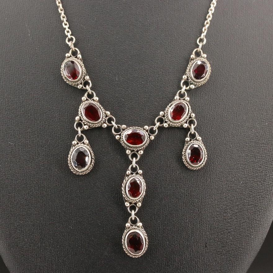 Vintage Sterling Silver Garnet Stationary Pendant Necklace