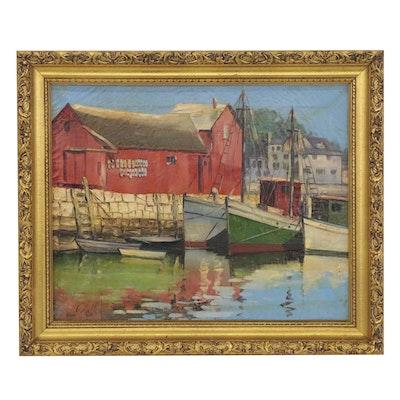 Jesus Ceballos Oil Painting of Harbor, Late 20th Century