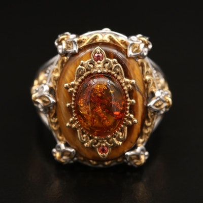 Sterling Silver Multi Layered Sapphire and Amber Ring