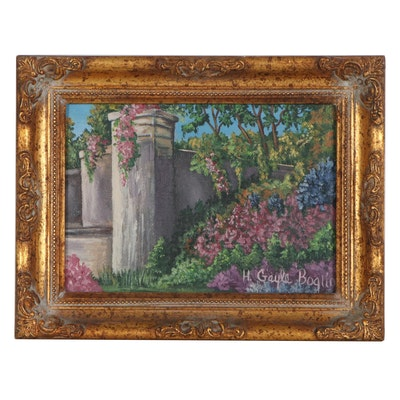 Miniature Acrylic Painting of Floral Landscaping, 21st Century