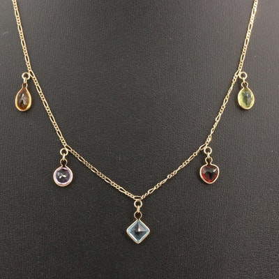 14K Multi-Gemstone Drop Necklace