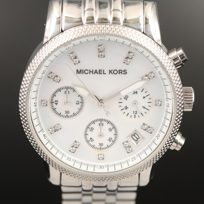 "Michael Kors ""Ritz"" Chronograph Stainless Steel Quartz Wristwatch"