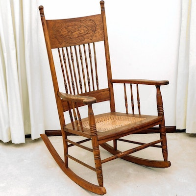 American Oak Pressed Back and Cane Seat Rocking Chair