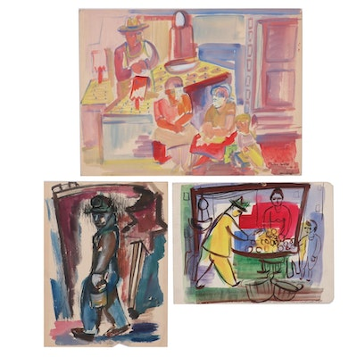 Helen Malta Watercolor Paintings of Market Scene and Laborer, Mid-20th Century