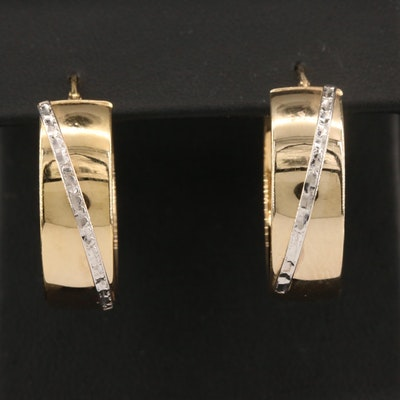 14K Two-Tone Hoop Earrings