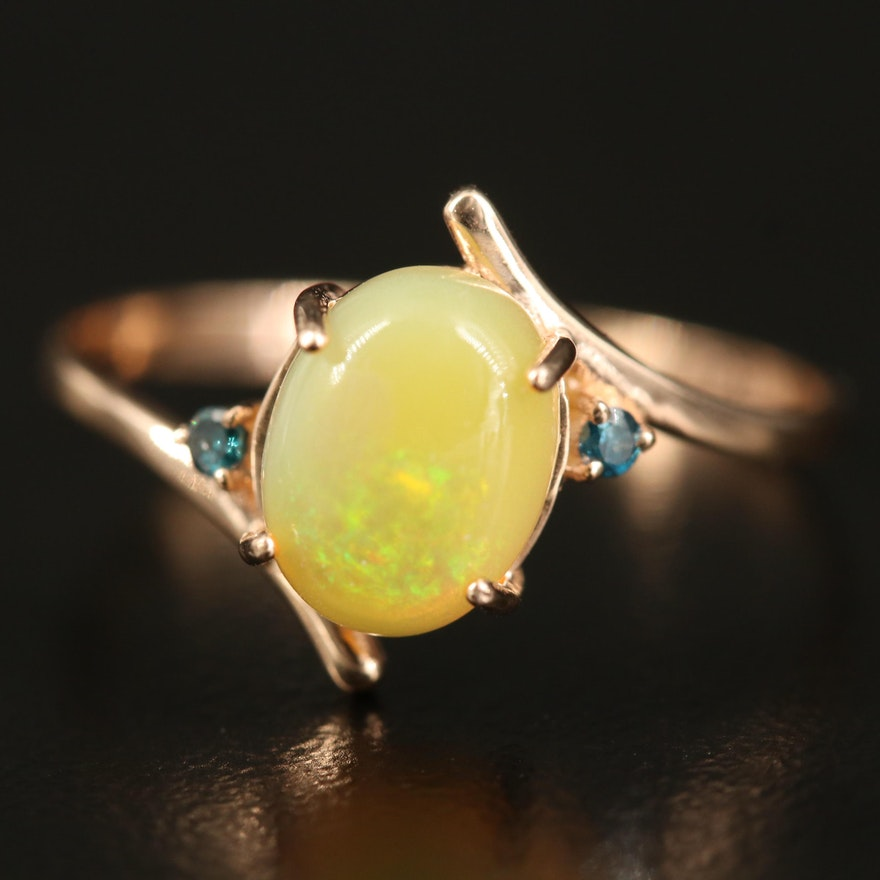 14K Opal Bypass Ring with Diamond Accents