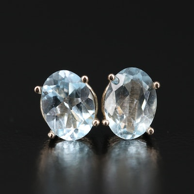 14K Aquamarine and Topaz Stud Earrings
