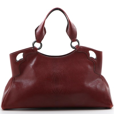 Cartier Marcello de Cartier Burgundy Grained Leather Handbag