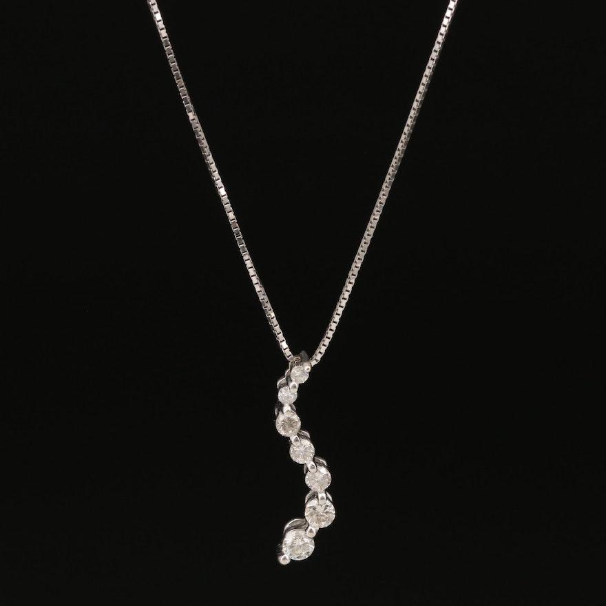14K Diamond Journey Pendant on 10K Chain