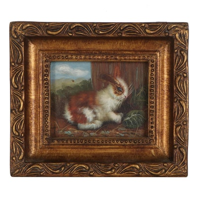 Miniature Oil Painting of Rabbit Among Grass