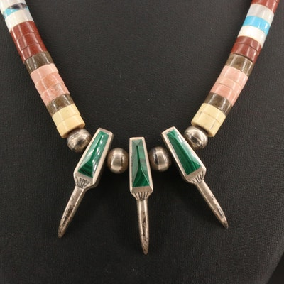 Western Style Sterling Malachite, Mother of Pearl and Turquoise Necklace