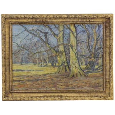 August Dencker Oil Painting of Trees in Winter, Early 20th Century